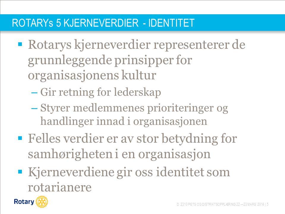 D 2310 PETS OG DISTRIKTSOPPLÆRING 22.—23.MARS 2014 | 5 ROTARYs 5 KJERNEVERDIER - IDENTITET  Rotarys kjerneverdier representerer de grunnleggende prin