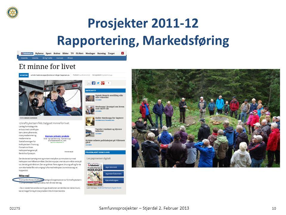 D2275 Samfunnsprosjekter – Stjørdal 2. Februar 2013 10 Prosjekter 2011-12 Rapportering, Markedsføring