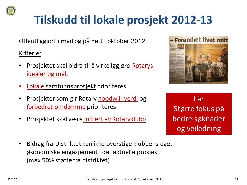 D2275 Samfunnsprosjekter – Stjørdal 2. Februar 2013 11 Tilskudd til lokale prosjekt 2012-13 Offentliggjort i mail og på nett i oktober 2012 Kriterier