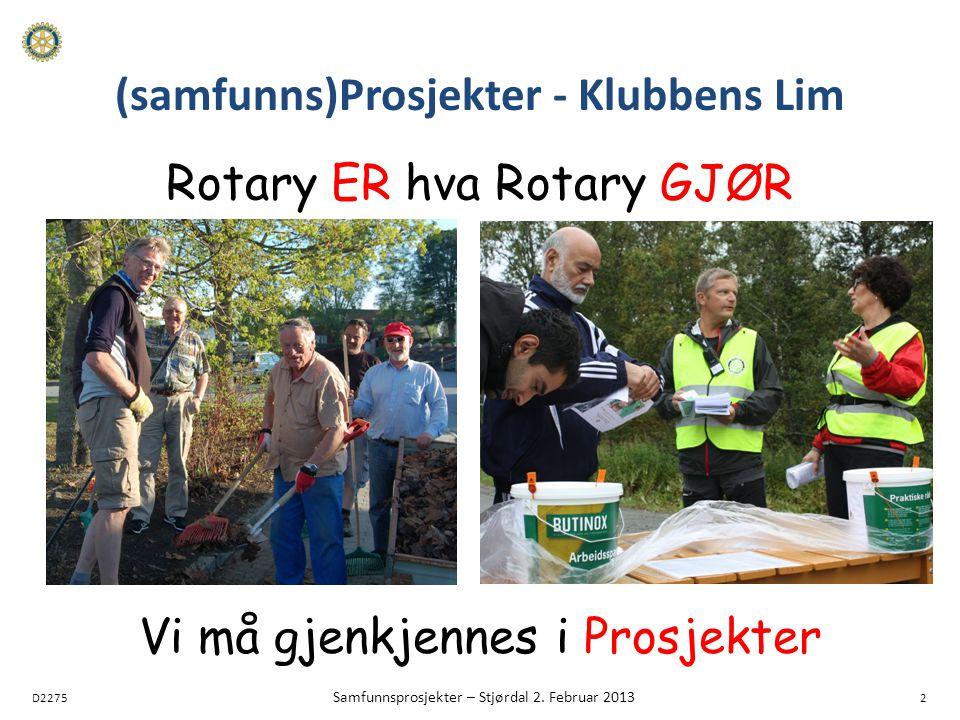 D2275 Samfunnsprosjekter – Stjørdal 2. Februar 2013 2 (samfunns)Prosjekter - Klubbens Lim Rotary ER hva Rotary GJØR Vi må gjenkjennes i Prosjekter