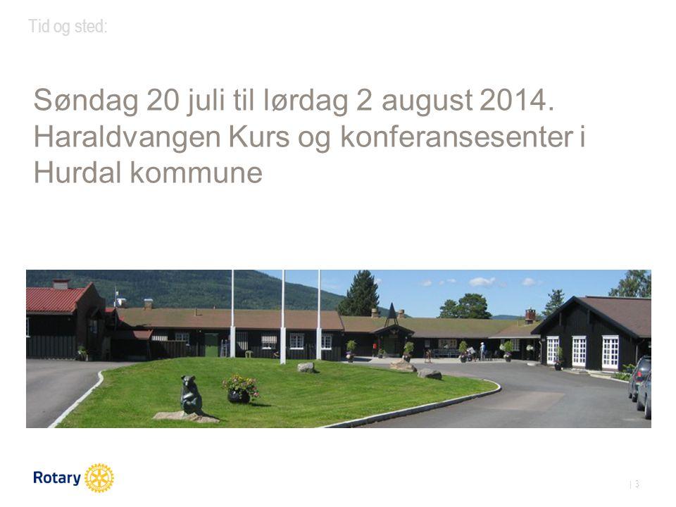 | 3 Tid og sted: Søndag 20 juli til lørdag 2 august 2014.