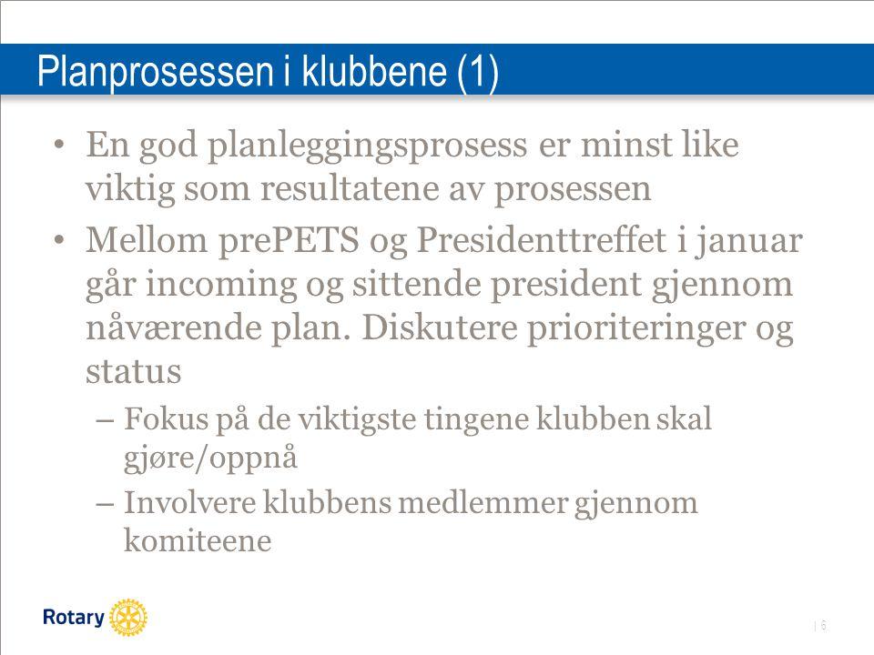 | 6 Planprosessen i klubbene (1) En god planleggingsprosess er minst like viktig som resultatene av prosessen Mellom prePETS og Presidenttreffet i januar går incoming og sittende president gjennom nåværende plan.