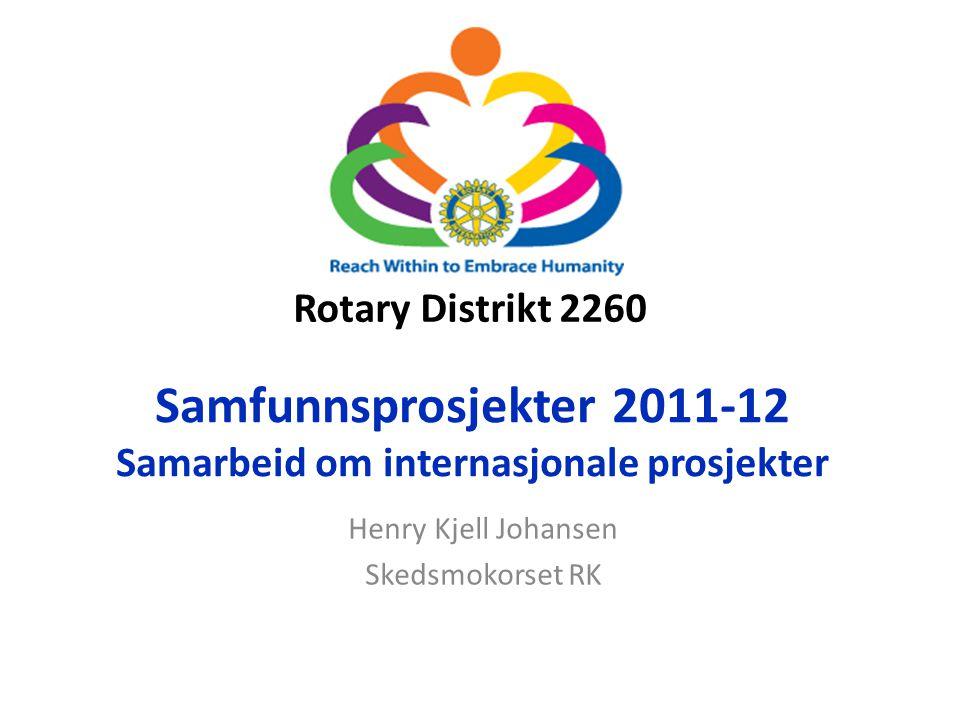 Rotary Distrikt 2260 Samfunnsprosjekter 2011-12 Samarbeid om internasjonale prosjekter Henry Kjell Johansen Skedsmokorset RK