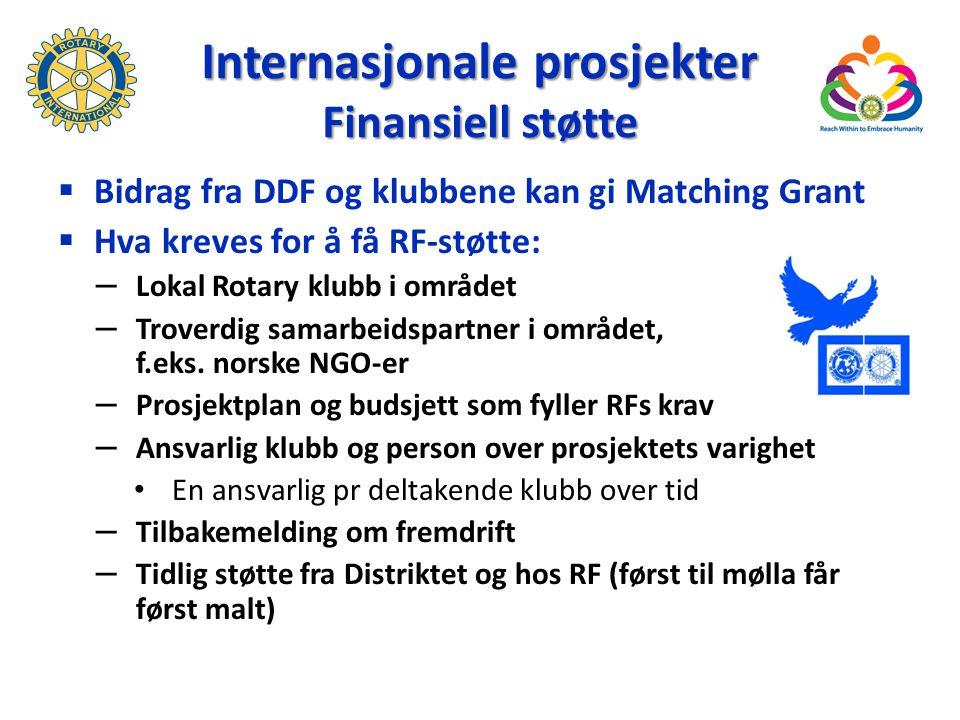 Internasjonale prosjekter Finansiell støtte  Bidrag fra DDF og klubbene kan gi Matching Grant  Hva kreves for å få RF-støtte: – Lokal Rotary klubb i området – Troverdig samarbeidspartner i området, f.eks.
