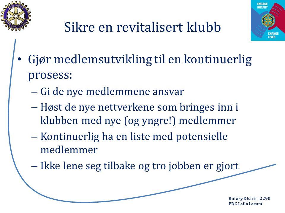 Rotary District 2290 PDG Laila Lerum Sikre en revitalisert klubb Gjør medlemsutvikling til en kontinuerlig prosess: – Gi de nye medlemmene ansvar – Hø