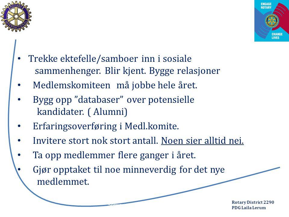 Rotary District 2290 PDG Laila Lerum Trekke ektefelle/samboer inn i sosiale sammenhenger.