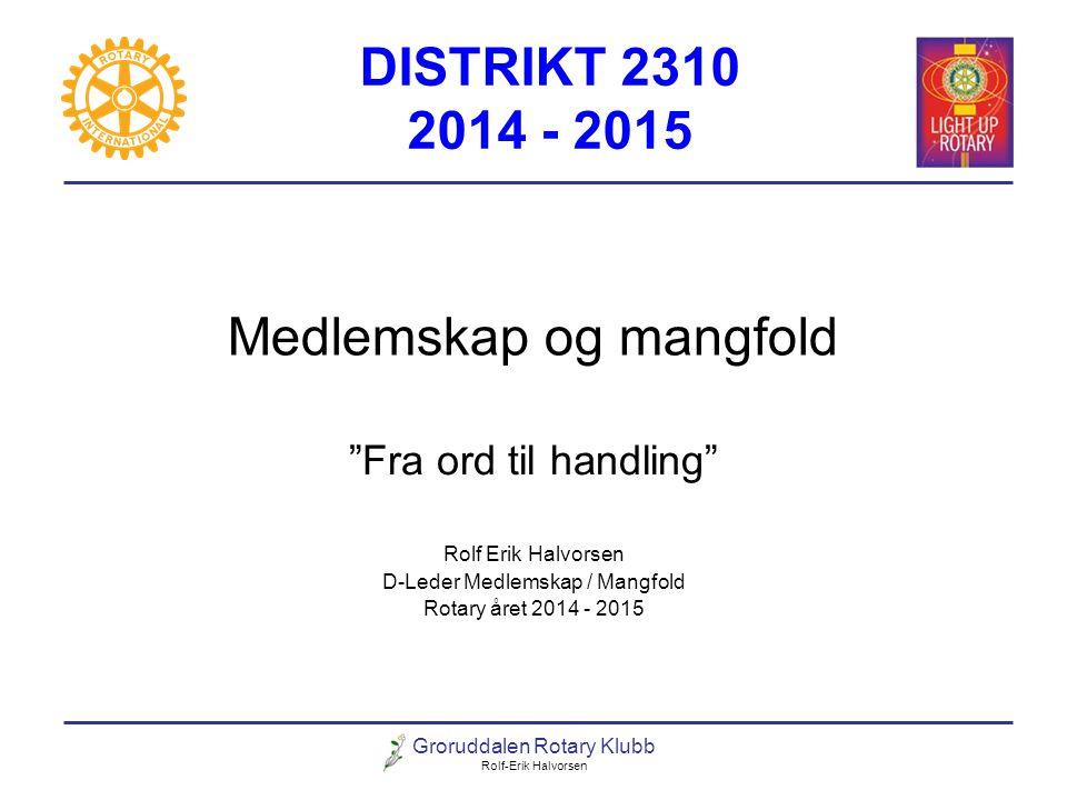"""Groruddalen Rotary Klubb Rolf-Erik Halvorsen Medlemskap og mangfold """"Fra ord til handling"""" Rolf Erik Halvorsen D-Leder Medlemskap / Mangfold Rotary år"""