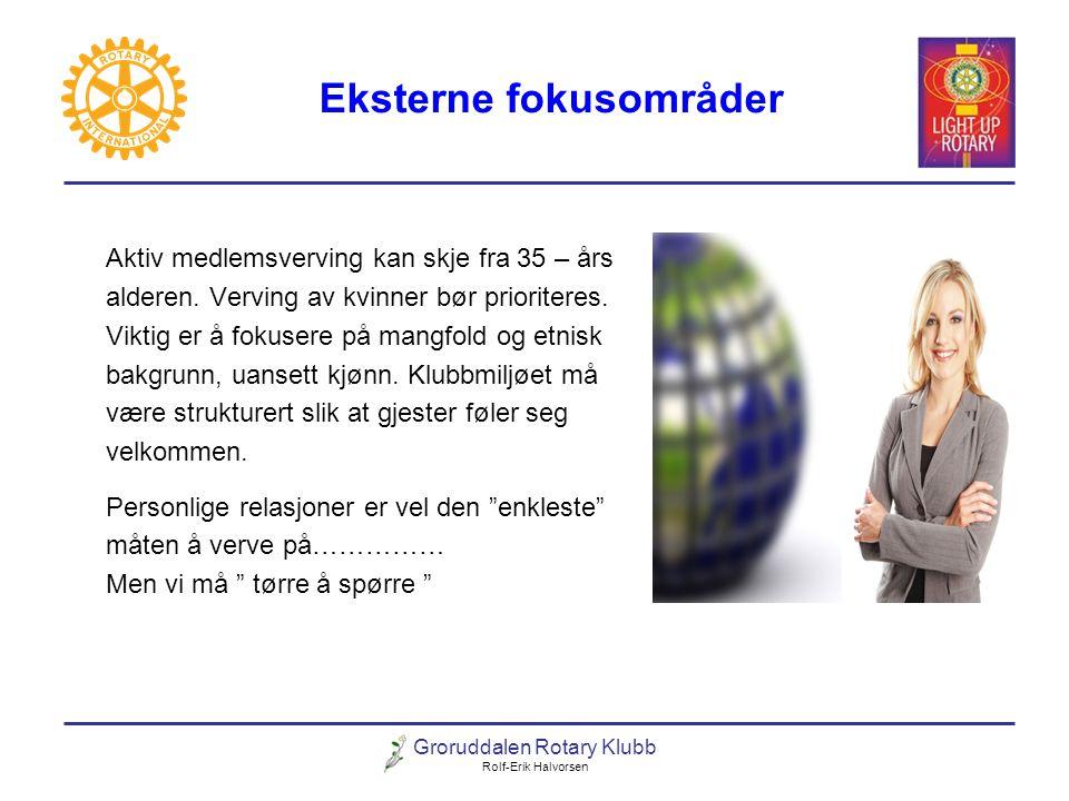 Groruddalen Rotary Klubb Rolf-Erik Halvorsen Eksterne fokusområder Aktiv medlemsverving kan skje fra 35 – års alderen. Verving av kvinner bør priorite
