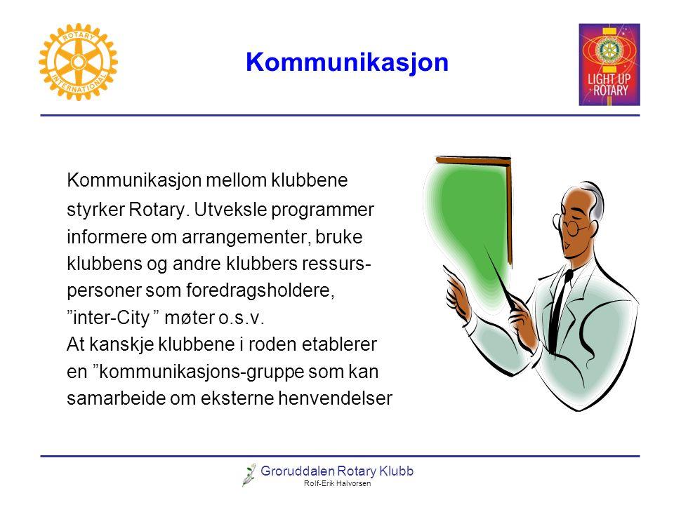 Groruddalen Rotary Klubb Rolf-Erik Halvorsen Kommunikasjon Kommunikasjon mellom klubbene styrker Rotary. Utveksle programmer informere om arrangemente