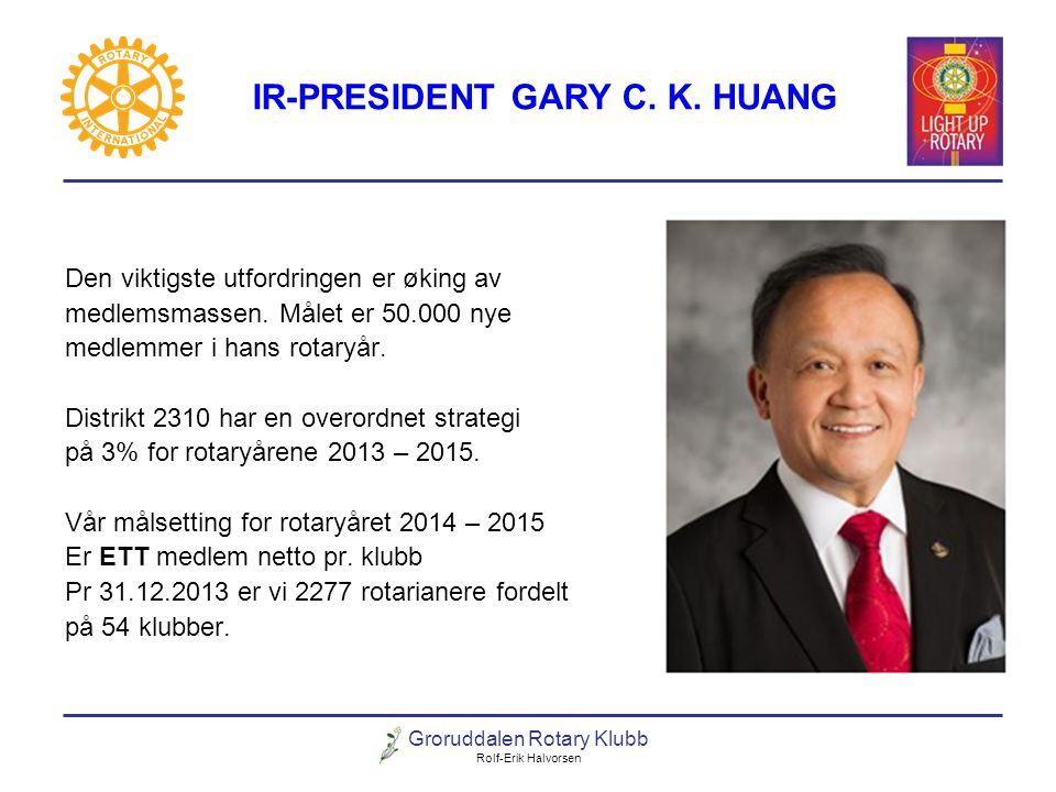 Groruddalen Rotary Klubb Rolf-Erik Halvorsen IR-PRESIDENT GARY C. K. HUANG Den viktigste utfordringen er øking av medlemsmassen. Målet er 50.000 nye m