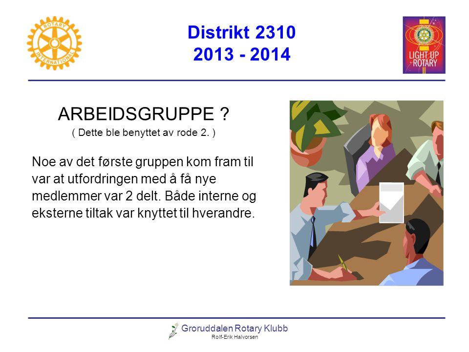 Groruddalen Rotary Klubb Rolf-Erik Halvorsen Distrikt 2310 2013 - 2014 ARBEIDSGRUPPE ? ( Dette ble benyttet av rode 2. ) Noe av det første gruppen kom