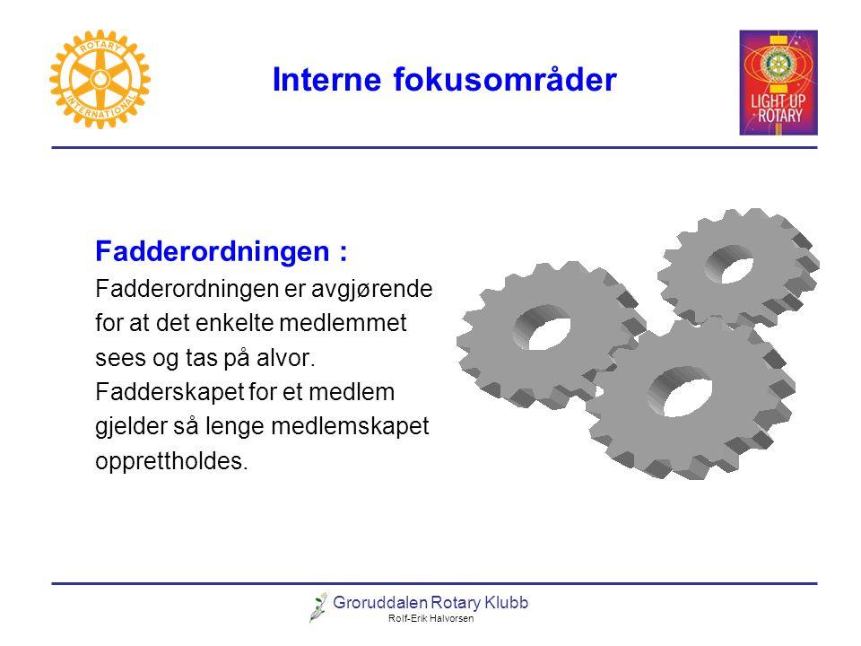Groruddalen Rotary Klubb Rolf-Erik Halvorsen Interne fokusområder Fadderordningen : Fadderordningen er avgjørende for at det enkelte medlemmet sees og