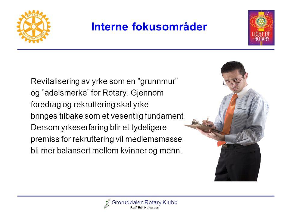 """Groruddalen Rotary Klubb Rolf-Erik Halvorsen Interne fokusområder Revitalisering av yrke som en """"grunnmur"""" og """"adelsmerke"""" for Rotary. Gjennom foredra"""