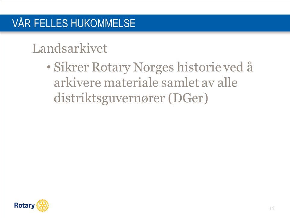 | 9 VÅR FELLES HUKOMMELSE Landsarkivet Sikrer Rotary Norges historie ved å arkivere materiale samlet av alle distriktsguvernører (DGer)