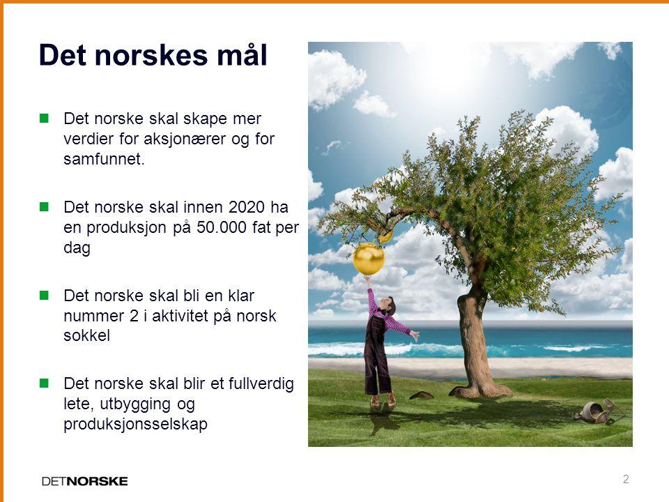 Det norskes mål Det norske skal skape mer verdier for aksjonærer og for samfunnet.