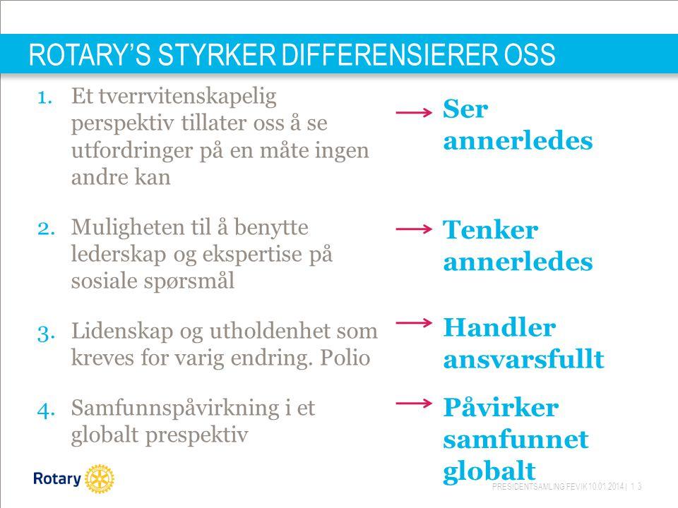 PRESIDENTSAMLING FEVIK 10.01.2014 | 13 ROTARY'S STYRKER DIFFERENSIERER OSS 1.Et tverrvitenskapelig perspektiv tillater oss å se utfordringer på en måt