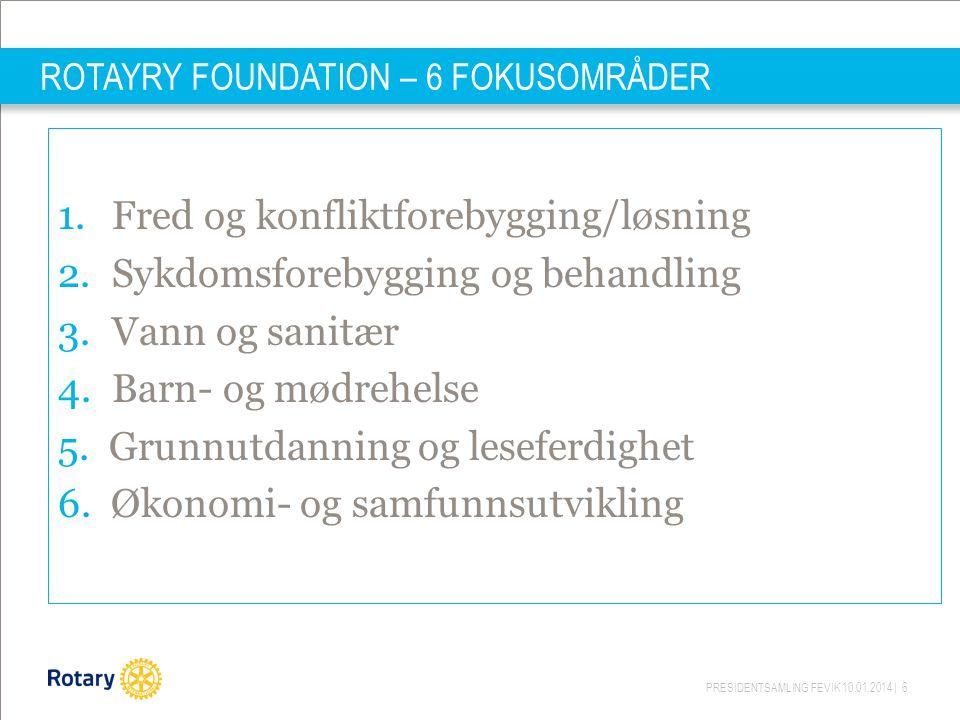 PRESIDENTSAMLING FEVIK 10.01.2014 | 6 ROTAYRY FOUNDATION – 6 FOKUSOMRÅDER 1.Fred og konfliktforebygging/løsning 2.Sykdomsforebygging og behandling 3.Vann og sanitær 4.Barn- og mødrehelse 5.
