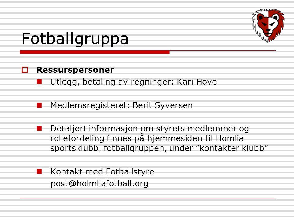 Fotballgruppa  Ressurspersoner Utlegg, betaling av regninger: Kari Hove Medlemsregisteret: Berit Syversen Detaljert informasjon om styrets medlemmer