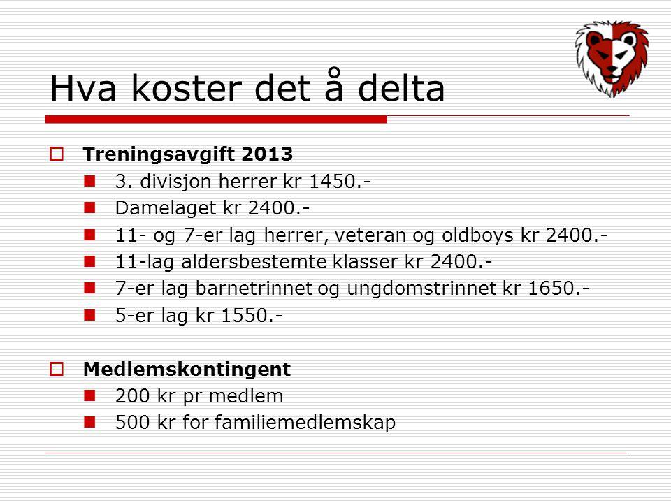 Hva koster det å delta  Treningsavgift 2013 3. divisjon herrer kr 1450.- Damelaget kr 2400.- 11- og 7-er lag herrer, veteran og oldboys kr 2400.- 11-