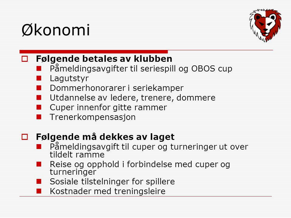 Økonomi  Følgende betales av klubben Påmeldingsavgifter til seriespill og OBOS cup Lagutstyr Dommerhonorarer i seriekamper Utdannelse av ledere, tren