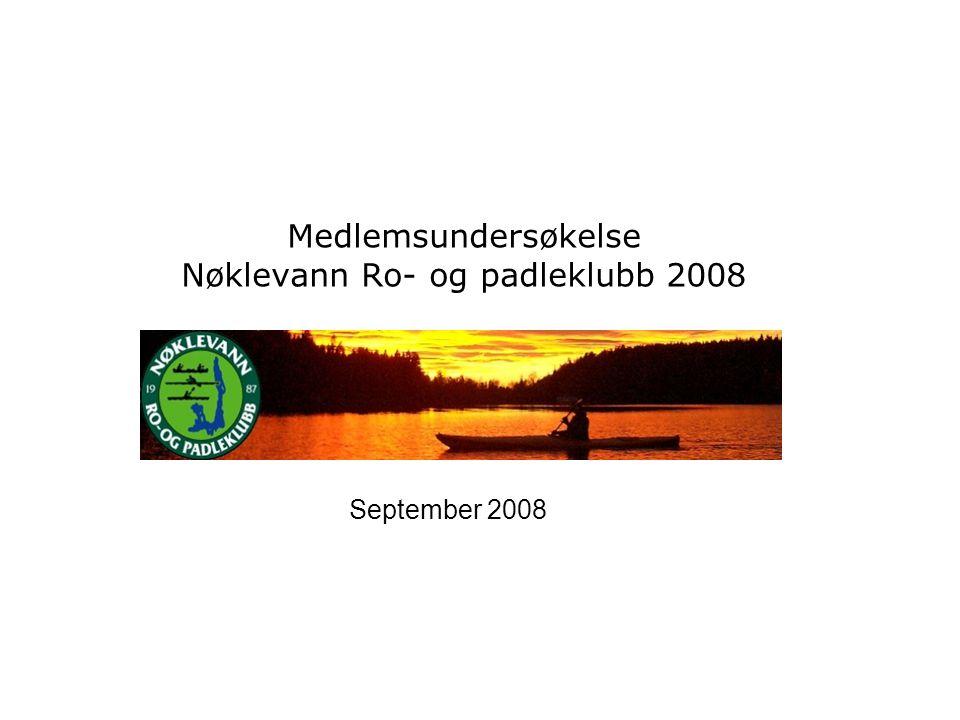 Medlemsundersøkelse Nøklevann Ro- og padleklubb 2008 September 2008