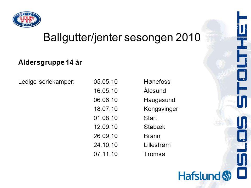 Ballgutter/jenter sesongen 2010 Aldersgruppe 14 år Ledige seriekamper:05.05.10Hønefoss 16.05.10Ålesund 06.06.10Haugesund 18.07.10Kongsvinger 01.08.10Start 12.09.10Stabæk 26.09.10Brann 24.10.10Lillestrøm 07.11.10Tromsø