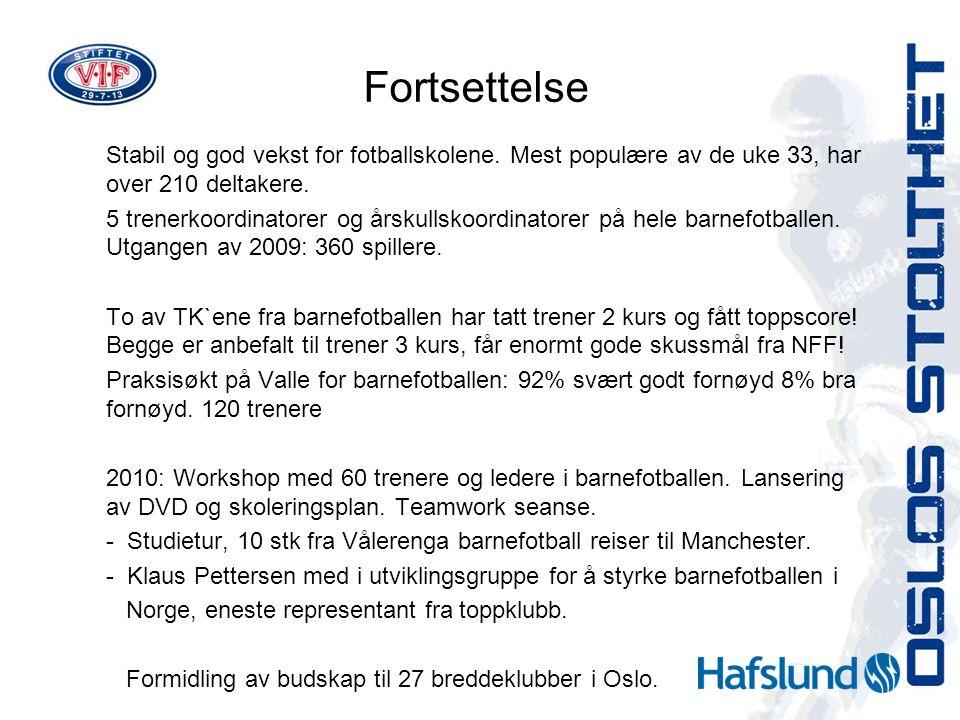 Fortsettelse Stabil og god vekst for fotballskolene. Mest populære av de uke 33, har over 210 deltakere. 5 trenerkoordinatorer og årskullskoordinatore