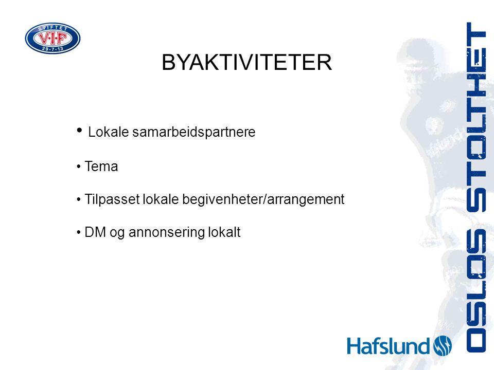 BYAKTIVITETER Lokale samarbeidspartnere Tema Tilpasset lokale begivenheter/arrangement DM og annonsering lokalt