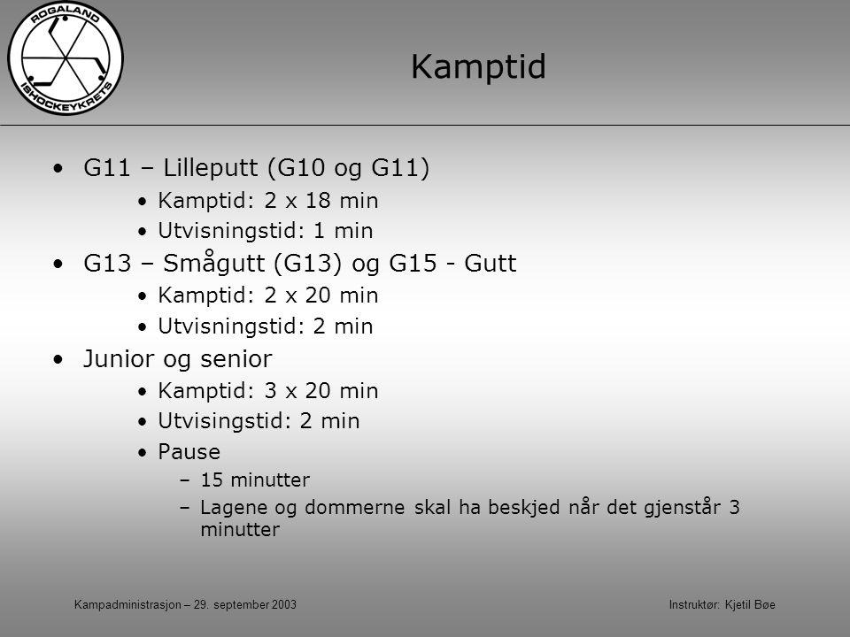 Kampadministrasjon – 29. september 2003 Instruktør: Kjetil Bøe Kamptid G11 – Lilleputt (G10 og G11) Kamptid: 2 x 18 min Utvisningstid: 1 min G13 – Små