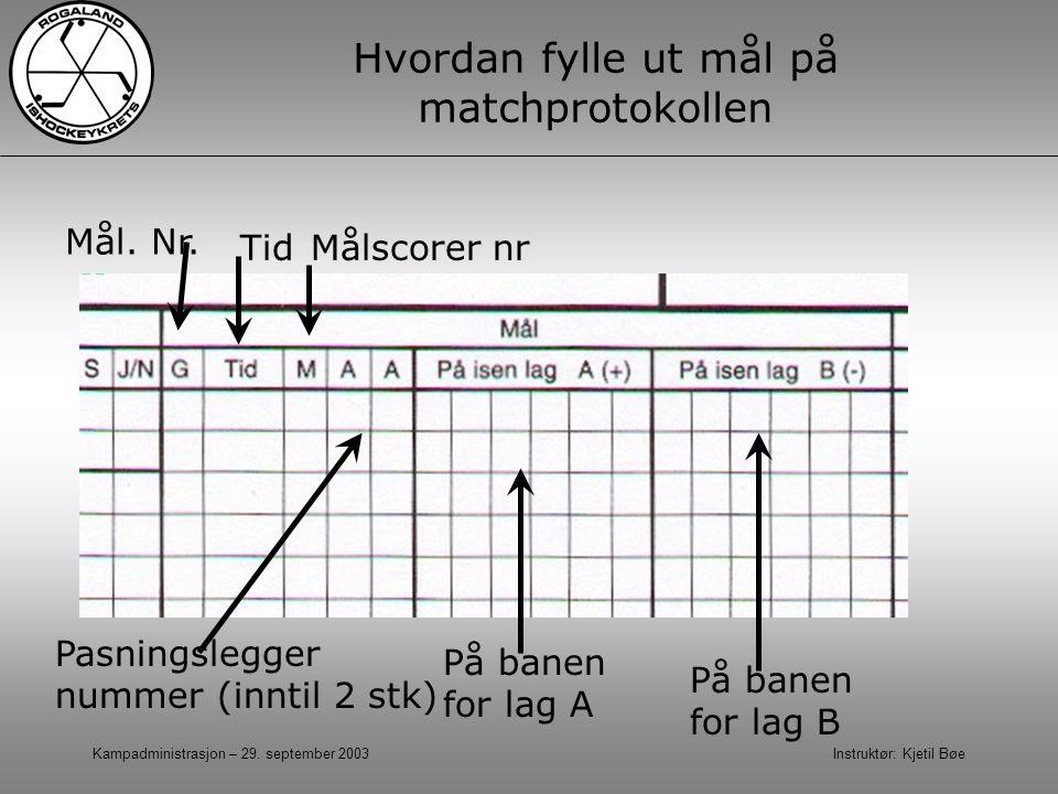 Kampadministrasjon – 29. september 2003 Instruktør: Kjetil Bøe Hvordan fylle ut mål på matchprotokollen Tid På banen for lag A Mål. Nr. Målscorer nr P