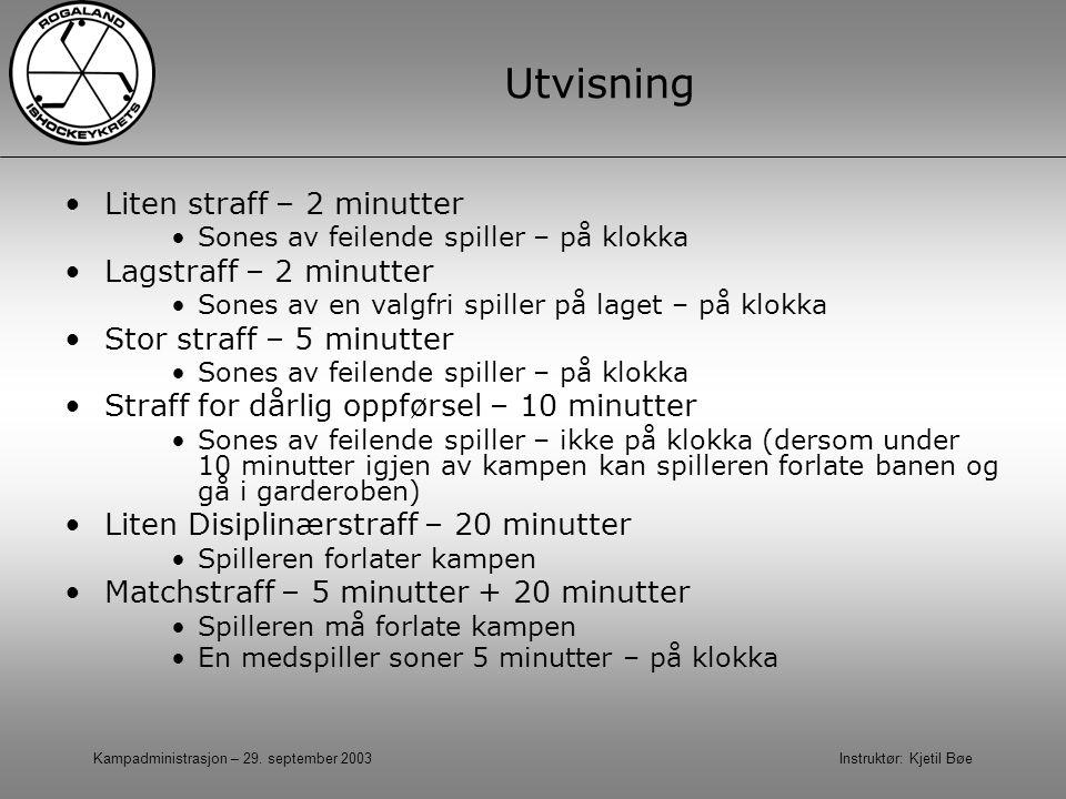 Kampadministrasjon – 29. september 2003 Instruktør: Kjetil Bøe Utvisning Liten straff – 2 minutter Sones av feilende spiller – på klokka Lagstraff – 2