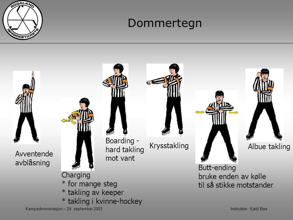 Kampadministrasjon – 29. september 2003 Instruktør: Kjetil Bøe Dommertegn Avventende avblåsning Charging * for mange steg * takling av keeper * taklin