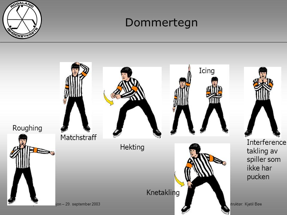 Kampadministrasjon – 29. september 2003 Instruktør: Kjetil Bøe Dommertegn Roughing Knetakling Interference - takling av spiller som ikke har pucken Ic