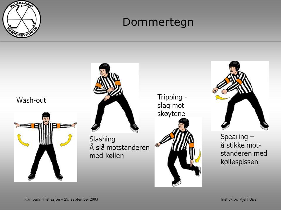 Kampadministrasjon – 29. september 2003 Instruktør: Kjetil Bøe Dommertegn Wash-out Spearing – å stikke mot- standeren med køllespissen Tripping - slag