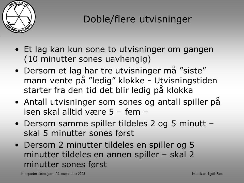 Kampadministrasjon – 29. september 2003 Instruktør: Kjetil Bøe Doble/flere utvisninger Et lag kan kun sone to utvisninger om gangen (10 minutter sones