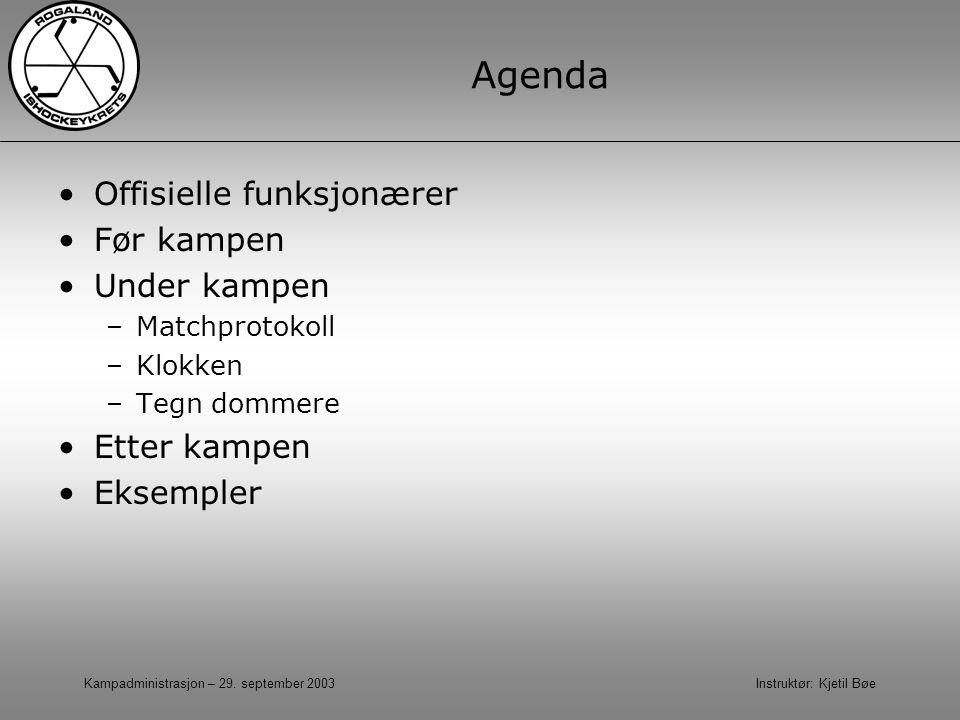 Kampadministrasjon – 29. september 2003 Instruktør: Kjetil Bøe Agenda Offisielle funksjonærer Før kampen Under kampen –Matchprotokoll –Klokken –Tegn d