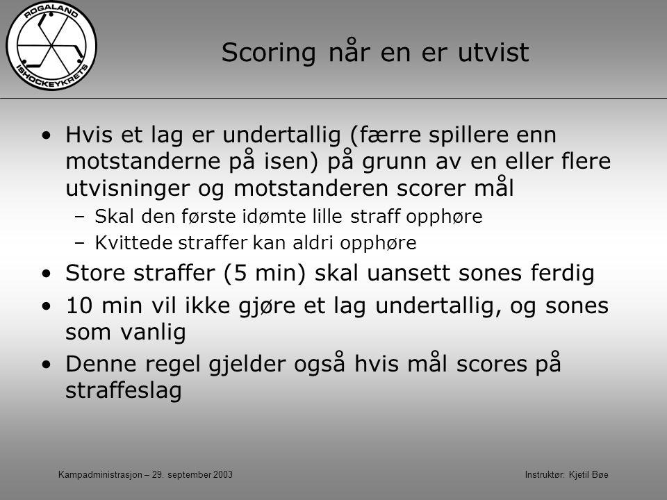 Kampadministrasjon – 29. september 2003 Instruktør: Kjetil Bøe Scoring når en er utvist Hvis et lag er undertallig (færre spillere enn motstanderne på