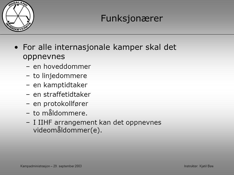 Kampadministrasjon – 29. september 2003 Instruktør: Kjetil Bøe Funksjonærer For alle internasjonale kamper skal det oppnevnes –en hoveddommer –to linj