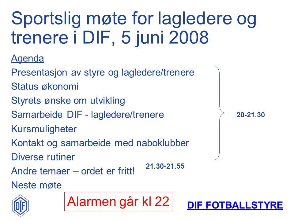DIF FOTBALLSTYRE Leder:Lars Johansen Sekretær:Kaia G.