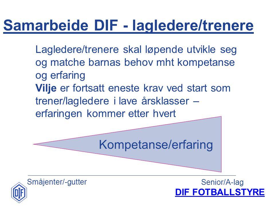 DIF FOTBALLSTYRE Samarbeide DIF - lagledere/trenere Småjenter/-gutter Senior/A-lag Kompetanse/erfaring Lagledere/trenere skal løpende utvikle seg og m