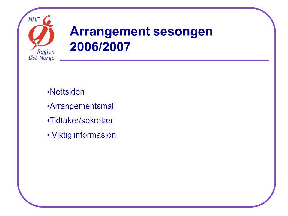 Arrangement sesongen 2006/2007 Nettsiden Arrangementsmal Tidtaker/sekretær Viktig informasjon