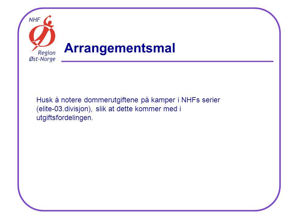 Husk å notere dommerutgiftene på kamper i NHFs serier (elite-03.divisjon), slik at dette kommer med i utgiftsfordelingen.
