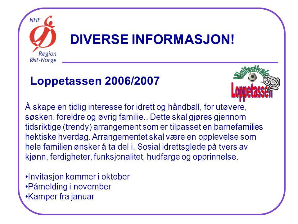 Loppetassen 2006/2007 Å skape en tidlig interesse for idrett og håndball, for utøvere, søsken, foreldre og øvrig familie..