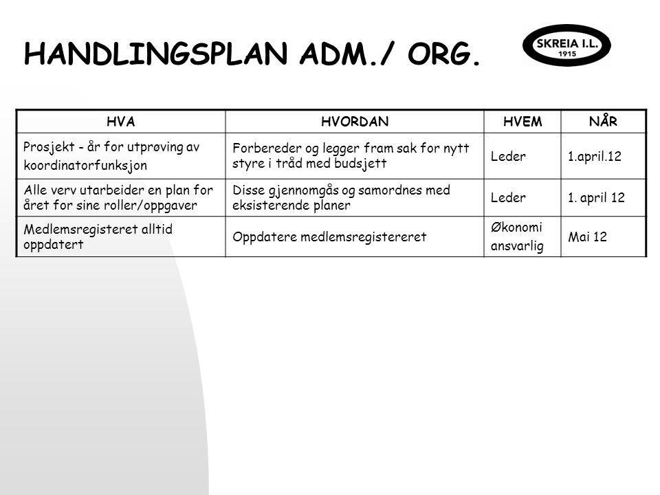 HANDLINGSPLAN ADM./ ORG. HVAHVORDANHVEMNÅR Prosjekt - år for utprøving av koordinatorfunksjon Forbereder og legger fram sak for nytt styre i tråd med