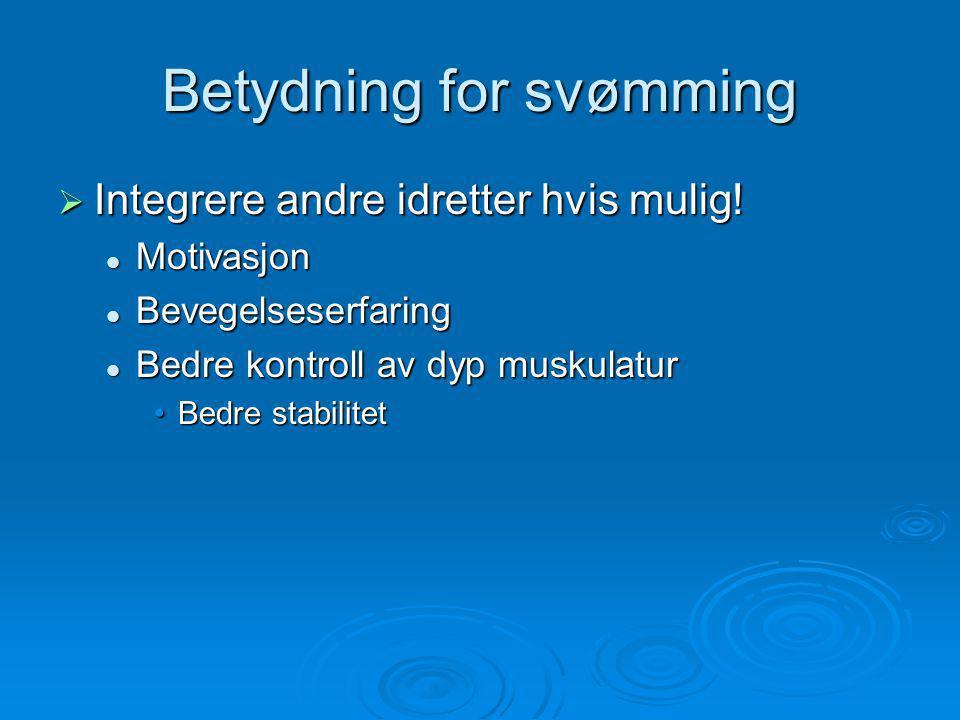 Betydning for svømming  Integrere andre idretter hvis mulig.