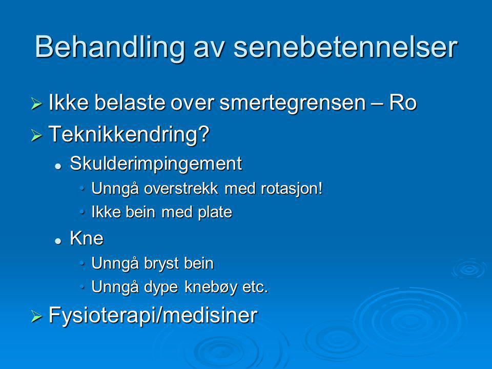 Behandling av senebetennelser  Ikke belaste over smertegrensen – Ro  Teknikkendring.