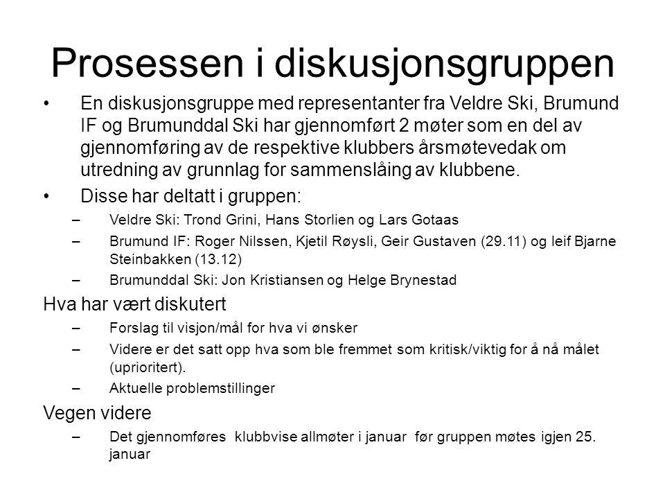 Prosessen i diskusjonsgruppen En diskusjonsgruppe med representanter fra Veldre Ski, Brumund IF og Brumunddal Ski har gjennomført 2 møter som en del av gjennomføring av de respektive klubbers årsmøtevedak om utredning av grunnlag for sammenslåing av klubbene.