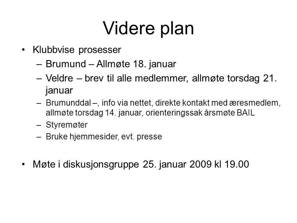 Videre plan Klubbvise prosesser –Brumund – Allmøte 18. januar –Veldre – brev til alle medlemmer, allmøte torsdag 21. januar –Brumunddal –, info via ne