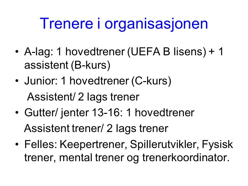 Trenere i organisasjonen A-lag: 1 hovedtrener (UEFA B lisens) + 1 assistent (B-kurs) Junior: 1 hovedtrener (C-kurs) Assistent/ 2 lags trener Gutter/ jenter 13-16: 1 hovedtrener Assistent trener/ 2 lags trener Felles: Keepertrener, Spillerutvikler, Fysisk trener, mental trener og trenerkoordinator.