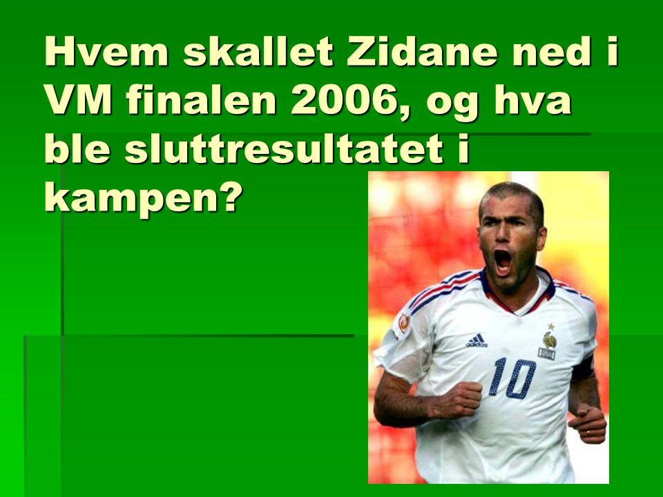 Hvem skallet Zidane ned i VM finalen 2006, og hva ble sluttresultatet i kampen?